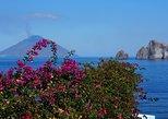 Aeolian Islands : Panarea and Stromboli from Cefalù. Islas Eolias, ITALY