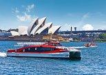 Cruzeiro no porto de Sydney Hop-On Hop-Off e ônibus hop-on hop-off. Sidney, Austrália
