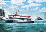 Paseo en barco por las cataratas del Niágara con cataratas estadounidenses y de herradura. Cataratas del Niagara, CANADA