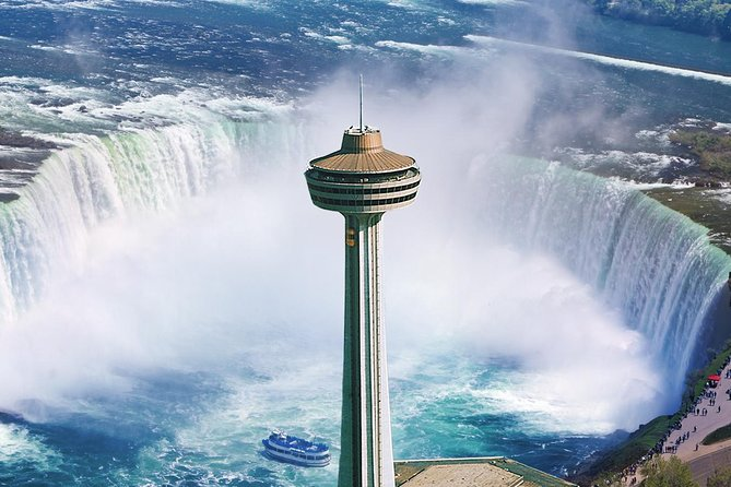 Visit Skylon Tower for the best views of Niagara Falls. This admission ticket provides access to 'Ride to the Top,' the glass-enclosed elevator that whisks you up to the indoor and outdoor observation deck, which stands 775 feet (236 meters) above the waterfalls. Be wowed by the 360-degree views, and go at night if you want to see the illuminated falls and seasonal fireworks display. If you want a bite to eat, two dining options are available, the Revolving Dining Room and the Summit Suite Buffet (food and drinks at your own expense).