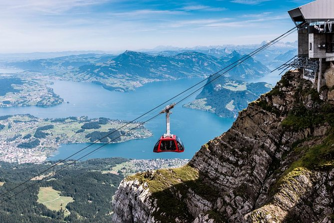 Visiting Lucerne's landmark mountain, Mt. Pilatus, is a must-do when you're in the Lake Lucerne region. Start at the valley station in Kriens, and enjoy a 30-minute gondola ride over a pre-Alpine landscape to reach Fräkmüntegg, where you'll transfer to the aerial cableway known as the 'Dragon Ride.' After another five minutes, arrive at 7,000 feet above sea level (2,132 meters). Soak up the panoramic views over the lake and Alps, and then take the world's steepest cogwheel railway down through rock faces, mountain streams, and lush meadows to reach Alpnachstad (from beginning or middle May till 8th November 2020, otherwise the panoramic cable car is operating).<br><br>This is a no guided tour and it's why that there is no meeting point.