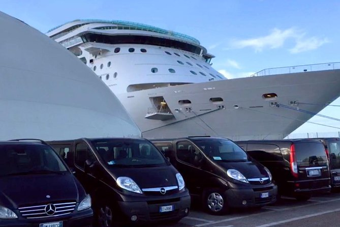 Take the worry out of your transportation arrangements at the end of your cruise with this pre-booked private transfer from Civitavecchia Port to Rome Fiumicino Airport. Save time and money, and avoid the hassle of taxi touts and shared shuttle buses.<br><br>Cancellations  <br><br>Policy  <br><br>No charges applied for cancelation up to 24 hours before the agreed pick-up time
