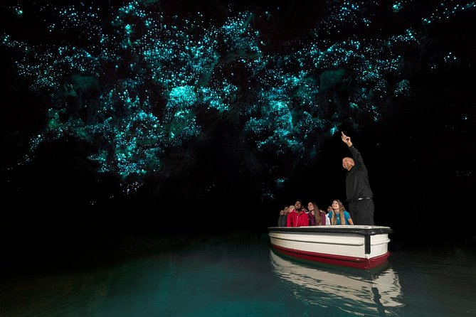 The Waitomo Glowworm Caves are highly placed in the New Zealand vacation wish list. Thousands of tiny glowworms radiate their unmistakable luminescent light from the roof of theWaitomo Caves. You will travel through Rural New Zealand from Rotorua to the Waitomo Caves (approximately1 hour and50 minutes) in a mini bus with a maximum group size of 15.Upon arrival, youwill join a guided tour of thecaves, conducted by a local guide – the highlight of which isthe boat ride along the Waitomo River where you have the opportunity to see the myriad of glow worm lights that make up the Glowworm Grotto. Travel in the afternoon from Rotorua. The tour departs at 1:45pm.After your tour, you will travel back to Auckland and be taken to your hotel in central city area by 8 pm.<br><br>Guaranteed departure - We do not cancel on the rare occasions we have low numbers. We will travel for one person Leave Rotorua at 2pm - Hotel pickups from 1:15 pm and travel via Waitomo Caves back to Auckland