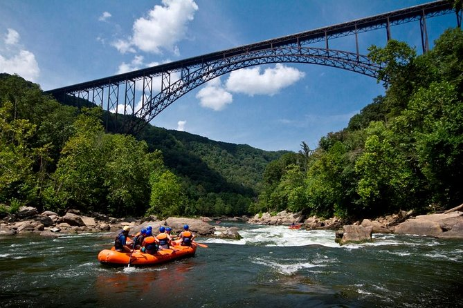 With the help of an expert guide, your crew will navigate the most exciting stretch of the New River. The Lower New is one of the most popular river trips in the country with over 25 rapids rated class I-V. Between rapids, enjoy calm and relaxing pools, stories about the area's old coal towns and beautiful scenery. The ever changing water levels offer a different and exciting trip every time.  The Lower New is the perfect first-time rafting trip balancing adrenaline and fun. Riverside lunch and equipment included. Minimum of 2 guests required to book. Maximum 8 guests per raft.