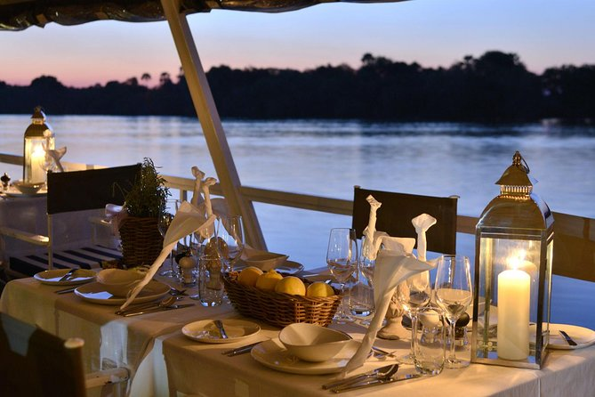 Enjoy a 3 hour dinner cruise in Victoria Falls on the Zambezi River, with a Zambezi style gourmet light dinner prepared on board by the executive chef using the finest fresh ingredients, in our on-board kitchens. A Dinner Cruise is an excellent dinner option while on safari in Victoria Falls. The dinner cruise is an enjoyable and relaxing way to spend your evening in Victoria Falls. It truly is a luxury safari on water.