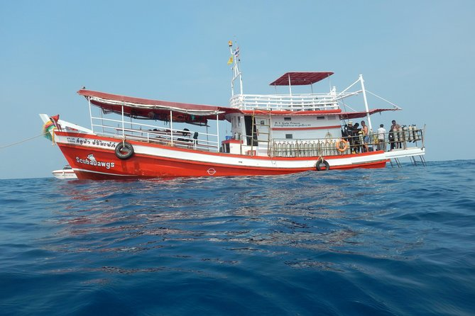 Discover Thailand's underwater wonders on this full-day scuba diving tour fromKoh Chang. Enjoy two guided dives suitable only for participants with open water dive certification; marvel at the colorful corals and exotic marine life of theKoh RangNational Marine Park; and tuck into a delicious buffet lunch on-board.This small-group tour includes hotel pickup and drop-off.