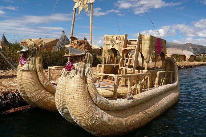 Lake Titicaca is the highest navigable lake in the world and the home of the handmade floating islands of Uros where the local people live a traditional lifestyle utilizing the flora of the lake for the homes & boats.<br>