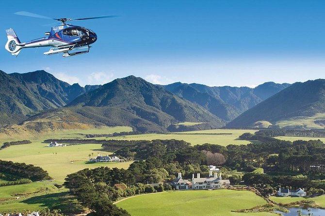 Combine a gourmet lunch with a thrilling helicopter flight on this 3-hour tour from Wellington. Admire spectacular aerial views of theCook Strait, Rimutaka Mountain Range, Orongorongo Valley, and Palliser Bay as you soar overhead on a helicopter, then touchdown to enjoy a delicious 5-course lunch with wine at theWharekauhau Country Estate. This small-group tour is limited to six people and includes round-trip helicopter transfers from Wellington.
