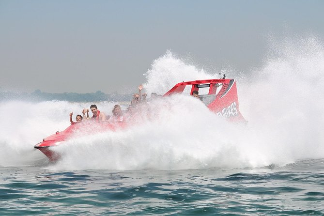 This Jet Boat ride gives you a unique opportunity to experience a one of a kind ride on the ocean on a thrilling, high speed jet boat ride. The Exhilarator has 630hp and is custom built in Christchurch New Zealand and is designed to perform and array of stunts such as 270 degree spins, power brake stops and fishtails. Suitable for children 120cm and above.