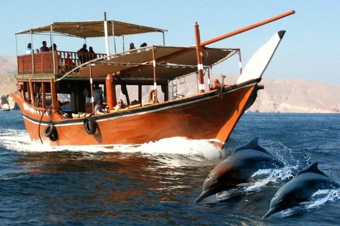 A spectacular and full of thrill dhow cruise to explore the hidden beauty of Musandam fjords. Snorkeling, swimming, dolphin watching, visit to historical Telegraph and Seebi Island and view of small fishing villages. What else you need? We offer you traditional Omani lunch with unlimited refreshment on board.You will also have neat and clean towels, snorkeling gears, life jackets, comfortable sitting arrangements and basic toilet facility available on the boat.