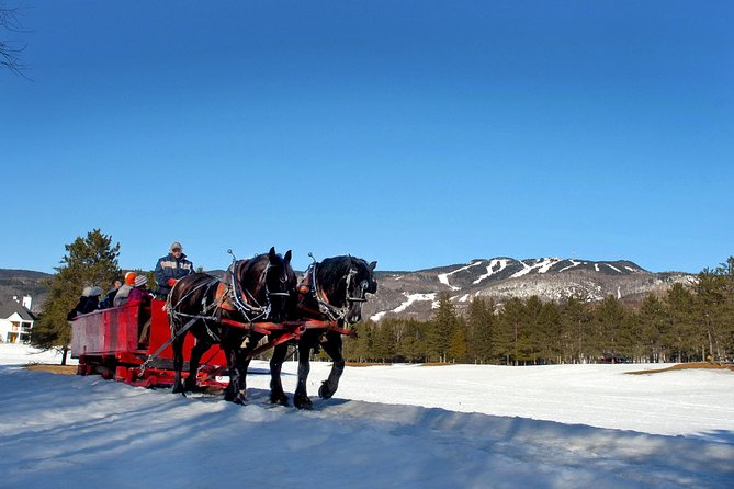 Feel like a kid again and enjoy a festive evening Sleigh Ride in Mont-Tremblant. The animator will enchant you with his folkloric songs and his storytelling about the legends of Mont-Tremblant.