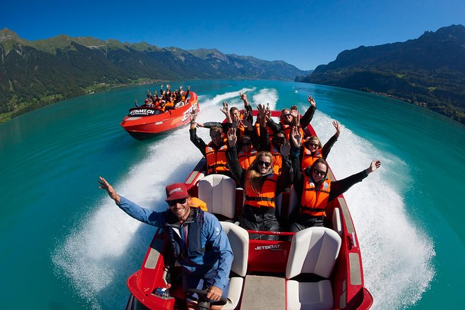 Take a seat in Switzerlands first commercial Jet-Boat! We offer a great mix of Fun, an turquoise blue lake, breathtaking landscapes and impressive waterfalls! Unforgettable experience on the Lake of Brienz! Take sunscreen and sunglasses with you! Pictures included!