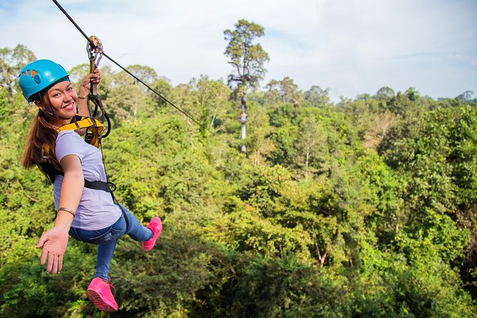 Experience the beauty of one of Cambodia's most prized sites during this five-hour zipline tour through the ancient Angkor Archaeological Park. You'll travel up seven staircases, across four hanging bridges and soar through jungle tree tops on 10 ziplines during this tour. Groups include two guides and are capped at nine participants to ensure a safe and personalized experience on the 21 platforms along the course. The trip includes round-trip transportation and a traditional lunch, as well as choice of sixdeparture times and two different packages.