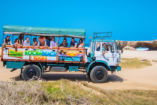 Let us take you on a coastal drive adventure to unforgettable landmarks.<br><br>Explore Aruba's north shore on our big 4x4 truck with the highest view on the island where you can see miles and miles away!<br><br>Get to know Aruba's north side where you can see different kind of volcanic stones, big waves and beautiful land marks.<br><br>Our professional tour guide will inform and explain all about the geological and also flora and fauna of this side of the island, from how the island was formed to how the island is now with so many beautiful natural features. This is your chance to see all of the island's beauty and nature, from the calm waters with white sandy beaches of the south till the rocky wild side of the north with big waves and all the beautiful landmarks in between.
