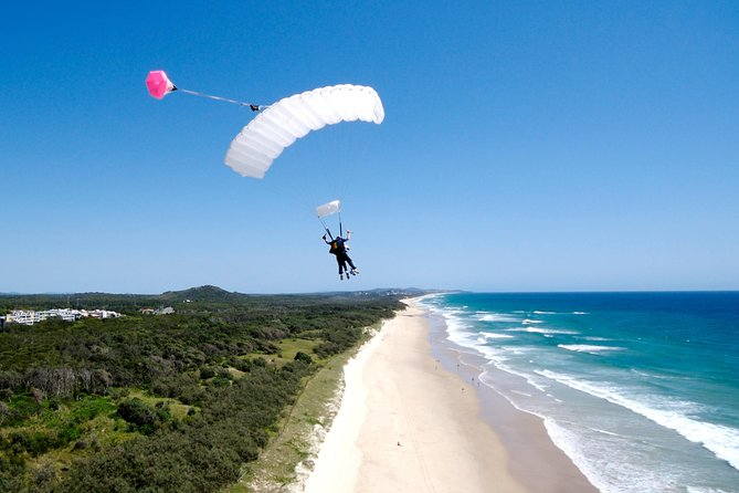 Skydive Noosa and marvel at the incredible views of beautiful Sunshine Coast region. Tandem skydiving is one of the best things to do in around Noosa – you'll see stunning beaches and ocean views as you free fall from up to 15,000ft and land into one of Australia's favourite tourism destinations.