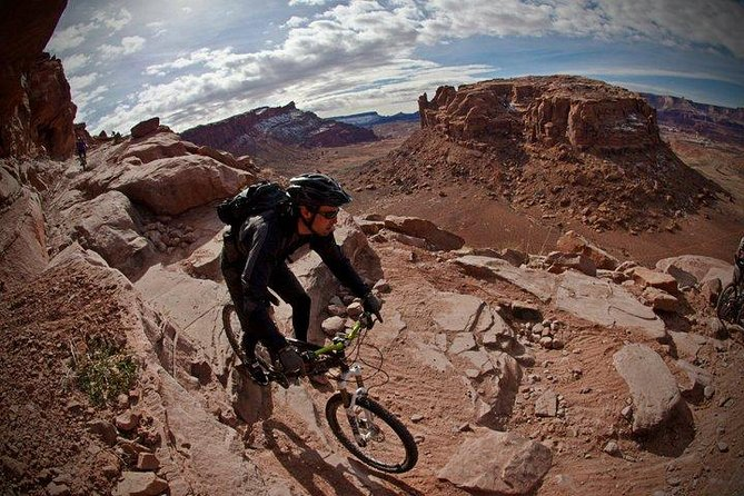 Experience the best trails in Moab, Utah on this guided, half-day mountain bike tour. Challenge athletic ability and get the adrenaline pumping while exploring eastern Utah. Have the option of bringing a favorite bike or renting a full-suspension demo model. Travel trails from beginner to advanced. Bike rental, if desired, is included. Just bring a sense of adventure and excitement to explore.