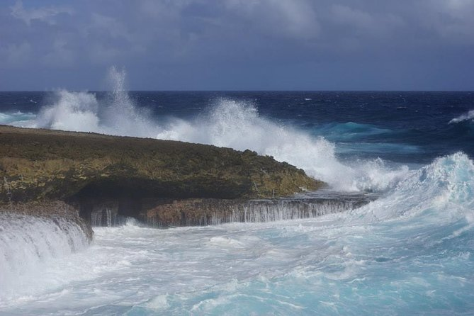 This tour visits the North West coast of Curacao. This is where the wind pushes the sea with such a force onto the coast that you will find water spectacles such as the natural jacuzzi. Take a soak in the shallow water beside the blowhole, get showered by a natural fountain and enjoy a close-up view of this wonderful water show. You will go to the Shete Boka Natural Park, where the powerful breaking of the waves not only creates the Boka Pistol (the natural water canon) and Boka Tabla (a cave you should not miss when visiting Curacao) but also the typical thunder that the locals call the Breath of Curacao, henceforth the name of this tour.