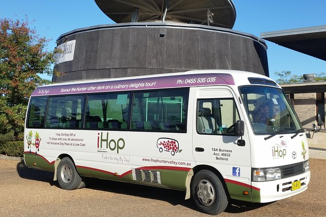 Customize your own 6-hour Hunter Valley wine tour experience around Central Pokolbin with a hop-on hop-off bus by choosing from a timetable of 16 stops to visit over 40 attractions. Venues include breweries, cellar doors, chocolate shops, cheese shops, organic vodka distillery, cafes, restaurants, pubs, shopping villages, Hunter Valley Gardens and more, all at your own pace. Simply join the bus by boarding at any of the 16 stops or if you are staying more than a 500 meter walk to any of the stops, book a complimentary transfer (ensure to select the option with transfers) from your accommodation in Pokolbin, Lovedale, Cessnock and Rothbury only (transfers occur before the service starting at 10:15am and at the end of the tour). Maximum travelling group size of 7 adults applies to all bookings. Please note: we don't travel to Sydney.