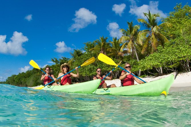 Discover the beauty of St. John on a Kayak, Hike and Snorkel tour of Caneel Bay. Kayak in the turquoise waters of the Virgin Islands National Park, a UNESCO World Heritage site, snorkel in grass beds often frequented by sea turtles, and hike the picturesque Lind Point Trail. Choose from a 3- or 5-hour tour (the latter option includes lunch), with guided instruction and equipment included. With breathtaking views and informative commentary, this outdoor adventure is fun for nature enthusiasts and families alike!