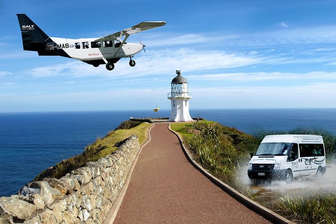 Discover the rugged natural beauty of Cape Reinga, located on the tip of New Zealand's North Island. Perfect for those short on time who want to make the most of this splendid area, this combination scenic aeroplane flights and driving small-group tour showcases the best of the top end of New Zealand. <br>See the remote and beautiful silica sand beaches of Parengarenga Harbour and Great Exhibition Bay; wander the lighthouse at Cape Reinga, where the Tasman Sea meets the Pacific Ocean; and enjoy refreshments at the beautiful Tapotupotu Bay.