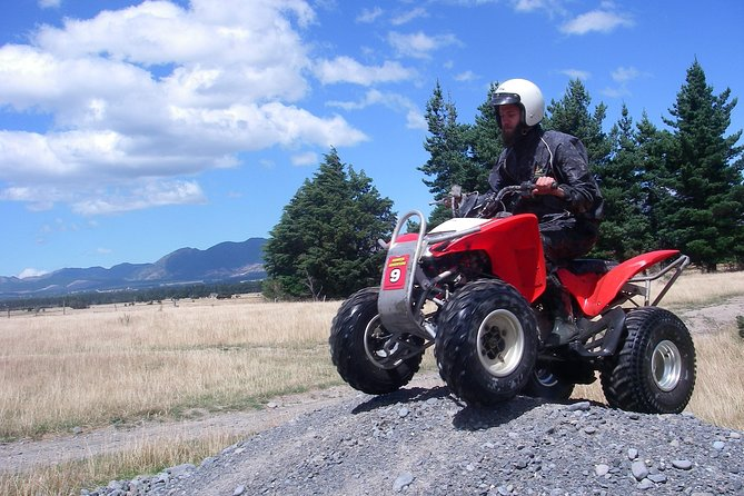 The most fun you'll have on 4 wheels. Jump on a quad bike and explore a purpose-built track through meadows, streams, and bush on a 15,000 acre property. Get ready for the adrenaline-pumping thrill of a real quad bike adventure. This guided small-group tour includes round-trip shared transport from the Adventure Centre in Hanmer Springs. Choose from10am, 1.30pm or larger groups by appointment and 1.5- or 2.5-hour options when you book. <br><br>Please note <br> • Minimum age is 8 years to ride pillion or 12 to ride on their own bike<br> • Pillion riders will be riding with the guide
