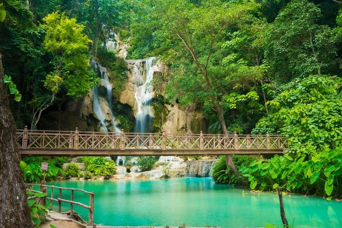 "See two of Luang Prabang's most popular attractions in one tour by minivan. ... Day trip to Pak Ou cave, Kuang Si falls and Bear Sanctuary ... -Before we Transfer to Kuang si Waterfall , we will stop at Ban Xiang Hai village to see how Lao people making the most famous traditional wine called ""Lao-Lao) ... For the adventurous, it is possible to walk to the top of the falls via a steep track.."
