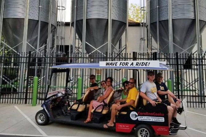 This guided tour by golf cart is a unique way to get a unique perspective of our city. Charlotte hasan incredibleselection of microbreweries throughout the city and the scene is quickly growing. Sit back and relax with your friends while we take you on an exciting tour of our 3 favorite breweries in Charlotte. There will be one complimentary drink included on the last stop of the tour. You can also enjoy a variety of local beers on your ownas well aslive music in three very unique neighborhoods in the area. Choose one of our multiple departure timesthat best fits your schedule.