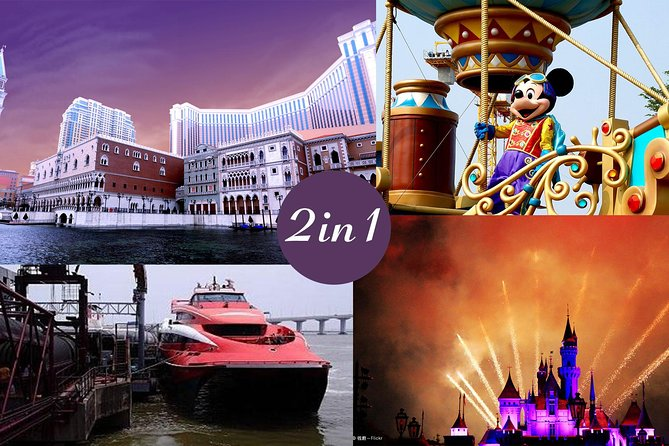 Treat yourself to this combo package including Hong Kong Disneyland admission ticket and round trip ferry ticket to Macau. Enjoy an unforgettable, culturally distinctive Disney experiences only in Hong Kong! Meet your favorite Disney characters in the magical kingdom theme park; explore seven diverse lands that are home to first-of-a-kind attractions and entertainment. Also Round Trip Economy Class Turbojet Ticket to Macau is included, perfect for a quick getaway from Hong Kong to the UNESCO World Heritage city of Macau for a full day sightseeing.  For your E-ticket, there is a separate ticket with QR code that you need to receive from local tour supplier.  If you have not received the QR Code image(s) offered by local tour supplier by email 48 hours before you fly to Hong Kong, please contact local tour supplier immediately.