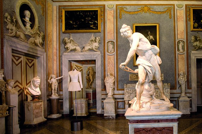 """Your personal and professional guide will meet you at your hotel and accompany you to the <br><br>Borghese Gallery. During this 3 hours experience you<br><br>willadmire Scipione Borghese Collection of works by <br><br>Raphael, <br><br>Rubens, <br><br>Caravaggio, <br><br>Canova, <br><br>Bernini and many other great artists.The Borghese Gallery, often referred to as the """"delight of Rome"""", boasts one of the most impressive collections of art ever put together, while<br><br> Borghese Gardens is widely considered the most beautiful park in Rome."""