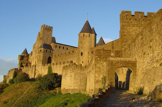 Carcassonne looks like a fairy-tale medieval city. Bathed in late-afternoon sunshine and highlighted by dark clouds, La Cité, as the old walled city is known, is truly breathtaking. The visit of the Basilica with its outstanding stained-glass windows is a must.