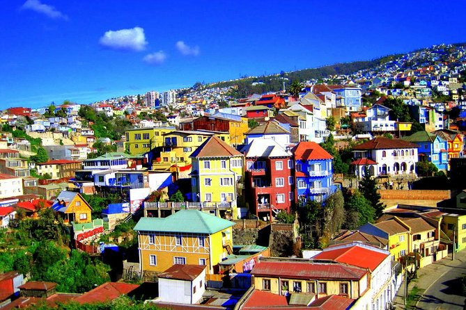 Make the most of the journey from Santiago to San Antonio port on this full-day small-group tour. Explore the colorful houses and historic port of Valparaiso, a UNESCO World Heritage site; enjoy wine tasting in the Casablanca Valley; and tuck into a delicious Chilean-style lunch (own expense) amid the vineyards.<br>What to Expect<br><br>On this tour, walk down the streets and hills of Valparaiso that will surprise you behind every corner with old elevators, colorful stairways, viewpoints of the endless sea and the colorful hills with unique architecture many of which are decorated with well adorned graffiti made by famous local and international artists.<br>The next visit is at one of the most beautiful vineyards in Casablanca valley where you will taste they delicious wines also have access to sale prices at the store<br><br>At the end of the tour you will be dropped you off at the Cruise ship terminal in San Antonio Port