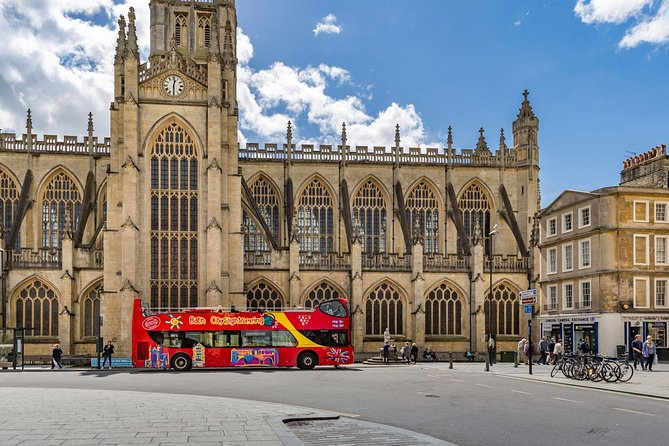 Explore the beautifully historic Bath on a 24 hour unlimited hop-on hop-off bus tour. With access to 37 stops across 2 routes, you'll discover all aspects of Bath, with the City Route focusing on the history and architecture of the town centre, and the Skyline Route traversing the natural beauty in the surrounding hills. On your hop-on hop-off sightseeing tour, you'll see the key sights at your own pace, including the Roman Baths, the High Street, The Royal Crescent, Holburne Museum, Great Pulteney Street, Prior Park and much more! Learn all about the incredible Roman influence on this ancient city from the double decker bus's audio tour commentary, provided in 10 languages. And experience 360 degree views of the green scenery from the open-top deck.