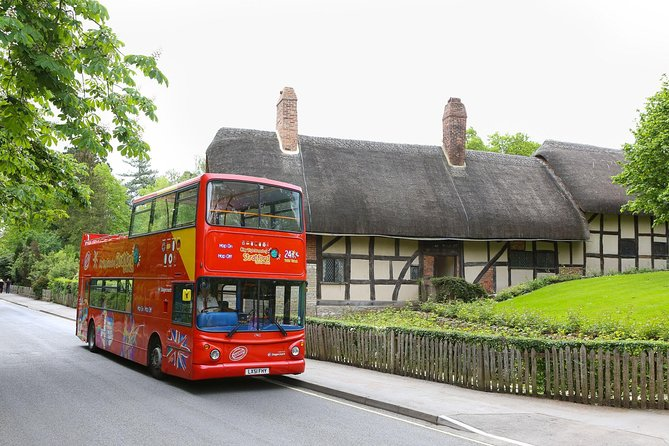 Explore Stratford-Upon-Avon with a 24-hour or 48-hour bus ticket aboard an open-top double-decker City Sightseeing bus! See Stratford's most exciting landmarks and attractions with ease with our flexible hop-on hop-off feature – passengers can hop on and hop off at any of the 10 tour stops along the route! Hop-off and discover key points of interest including Shakespeare's Birthplace, Anne Hathaway's Cottage, Hall's Croft and the River Avon!