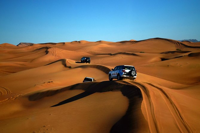 Your trip to the U.A.E. will not be fulfilled without exploring the magnificent activities of the evening desert safari. Spend a thrilling evening in the desert. Enjoy dunes bashing followed by a barbecue dinner and live entertainment (5 - 6 hrs duration).