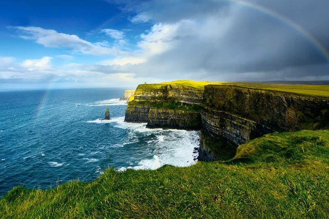 The Cliffs of Moher is Ireland's most visited natural attraction with a magical vista that captures the hearts of up to 1 million visitors each year. The Cliffs rise up to 214 (700 feet) at the highest point and range for 8km over the Atlantic Ocean on the Western seaboard of Co. Clare.