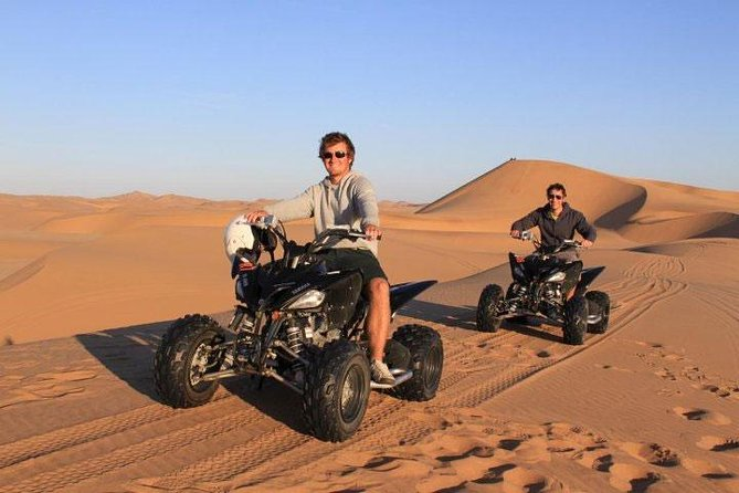 A great experience one can encounter while exhilarating the beautiful surroundings of Namibia's dunes. This is the most popular tours, were you will ride for your life on the dunes for an hour and explore the different plants and animals in the Namib Desert, another hour you will be sandboarding andthe last hour you quad back. <br><br>Quad Biking is the best way to see what Swakopmund sand dunes has to offer even at the most unreachable places were a 4x4 can't reach. This is one of the best adventure experience.