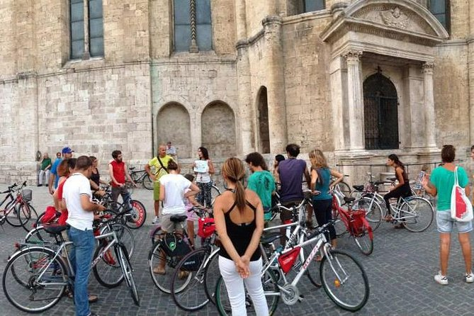 "Guided Ascoli Piceno city bike tour with a final Aperitivo with typical products tasting. Each tour can be customized depending on traveller requests. Architecture tour, Medieval tour, On the rue, Wine tour. The tour begin in Piazza Giacomini, close to ""Ex Gil"" parking, through the ancient city of Ascoli Piceno, you will discover the magic of travertine stone with a medieval atmosphere."