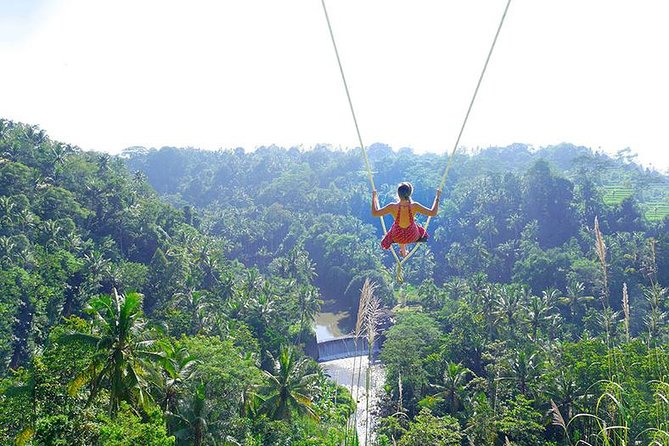 Bali Junggle Swing Combine With White Water Rafting Most amazing things to do at north of Denpasar Located in a traditional Balinese village about 20 minutes from the center of Ubud, Swing and Rafting will offers an unparalleled experience adventure that is exquisitely Ubud. As far as the eye can see, across Ayung River, a mini waterfall, rice fields and Mount Agung – you will find the most spectacular thing you will not find anywhere else. A swing hanging between coconut trees, high atop a hill. <br><br>Swing and Rafting Both thrilling and addictive, the swing ride of your life is almost guaranteed – at such a height, and with sweeping views of the jungle, and beautiful rain forest ! Small group extended to a maximum of 15 travelers. <br><br>Highlight <br><br># giant swing <br><br># coffee and tea taste <br><br># white water rafting <br><br># informative and friendly driver and guide <br><br># hotel pick up and drop off