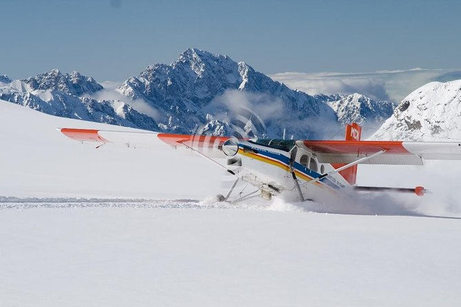 Soar through the sky on this 45-minute Ski Plane scenic experience through Aoraki Mt Cook National Park. Enjoy the Breathtaking views from the moment you're airborne. Experience everything Mt Cook National Park has to offer. Land at the top of the Tasman Glacier (NZ's Largest Glacier)<br><br>You will enjoy the scenic beauty of Aoraki/Mt Cook and the national park surrounding it from takeoff to landing. The snow-capped mountains, the bright blue of the glacier lake and the lush greens of the vegetation are just a few of the magnificent sights you will experience as you fly through the Southern Alps.<br><br>Check in closes 45 minutes prior to the flight time