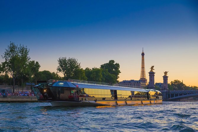 See Paris from the water on a 3-hour Seine River cruise on the iconic Bateaux-Mouches, which includes dinner. You'll admire the city's elegant architecture all lit up for the evening as you pass by landmarks such as Notre-Dame Cathedral and the Eiffel Tower. When booking, select from the Prestige or Excellence menus; you also have the option to select a holiday cruise, when available (duration may differ).<br><br>Please note that for groups (more than 15 people) a unique choice of menu is compulsory.