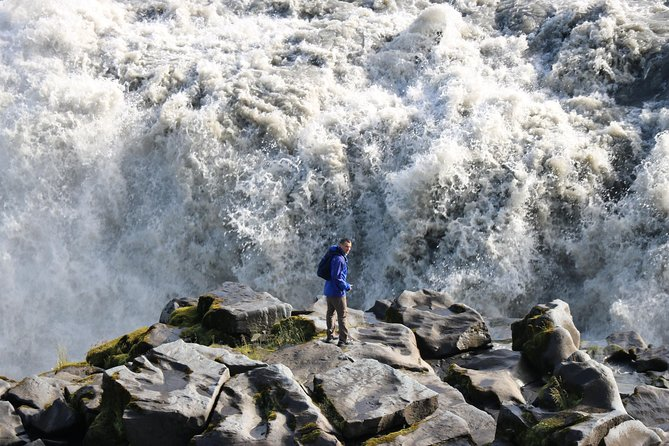 Visit Goðafoss waterfall, Dettifoss waterfall, and Selfoss waterfall on this guided, 10-hour small-group tour from Akureyri. You will also stop at the hot springs in Hverarönd in Námaskarð and the Mývatn Nature Baths. Hotel or airport pickup is available upon request.
