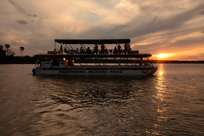A classic sunset cruise on the evocatively romantic Zambezi river. Cruise on the quintessentially African river - famous of David Livingstone and other great explorers. The cruise provides a fully stocked complimentary bar and delicious complimentary snacks. Game is often viewed on the banks of the river: Elephants, Buffalo, Buck, Crocodiles, Giraffe, and always multiple birdlife and Hippos. The show stealer is the romantic African sunset however.