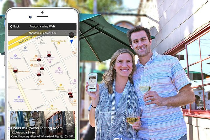 Experience Santa Barbara's wine culture and tasting rooms located in the Funk Zone neighborhood through this self-guided tour using your mobile device. Enjoy a flight of wine, 3 featured glasses of wine, 2 for 1 tastings & special discounts throughout a variety of tasting rooms bordering Anacapa Street in the hip area known as the Funk Zone. Sip at your own speed because the package items are redeemable for a year from purchase.<br><br>Please note: this is an app-based tour and self-guided. Use the Seeker app on your smartphone to guide you to each location and redeem included wine at each stop. The outing is great for corporate, special occasions, and wedding groups because once you've purchased the pack, all you need is your phone; there's no need to pay at each individual location.