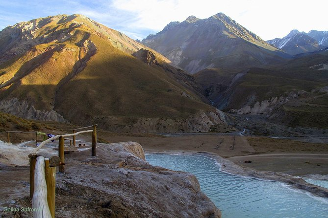 Escape the city hustle and bustle on this nine hour trip to the Colina Hot Springs. Relax with the convenience of transfer service from and to your Santiago hotel, on this small-group (maximum of 7) tour. Journey through the Chilean countryside on your way to Cajon del Maipo, just 68.5m (110.3km) south of Santiago. Soak in the famous hot springs of Colina with the Andes Mountains as a backdrop. Enjoy a picnic lunch surrounded by the beautiful landscape of the Andes.