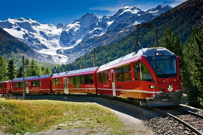 Take a ride on the Bernina Express, Switzerland's alpine delight. This train journey takes you along one of the most beautiful railway routes in the world – now a UNESCO World Heritage Site – through the Bernina Pass to the exclusive resort of St Moritz at the 'Top of the World.' Enjoy a round-trip scenic coach trip and ride a bright red rail car, passing unrivaled landscapes amid the towering peaks of the Swiss Alps, including time to spend in charming Tirano and St Mortiz.