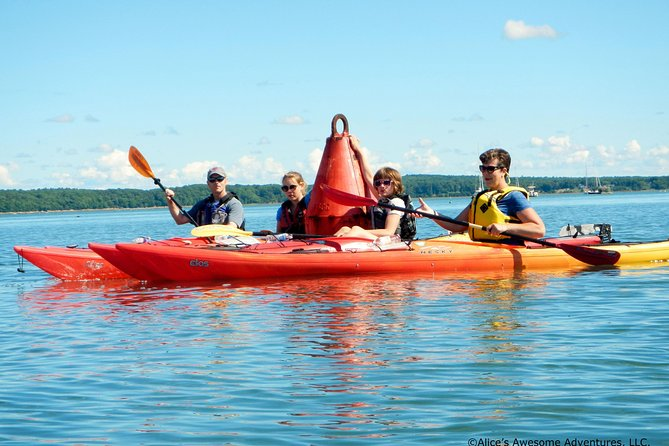 Learn the basics of sea kayakingon land before launchingat Mere Point in Brunswick for a leisurely3 hour morning tour of Northwest Casco Bay! Usually we paddle south to the end of Mere Point for a photo op and then on to visiting an island for a stretch break, snacks, and shoreline exploring. Then we paddle back by another island to our launching point.<br><br>Sea kayakingis an easy, funway to sight see from the water. We often see different kinds of sea gulls, cormorants, black ducks, mallard ducks, eider ducks, great blue herons, snowy egrets, osprey and sometimes bald eagles. If we are lucky, we will see a seal. <br><br>Paddlers of all ageswill love exploring Casco Bay in this protected, scenic, historic area! No experience is needed. Single and double kayaks are used on this guided tour by a Master Maine Guide.