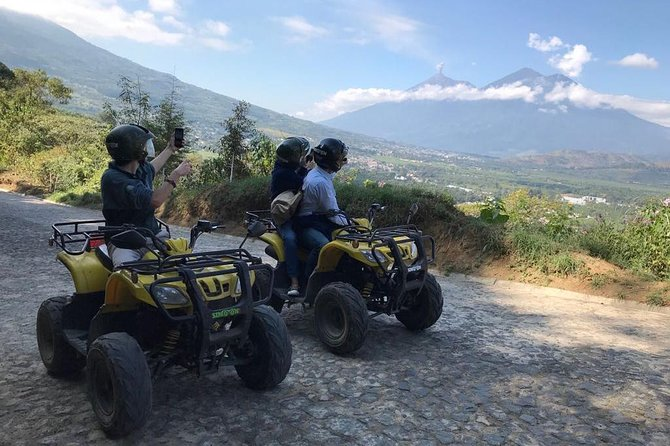 This is the best sightseeing adventure tour in Antigua! This tour is done on ATVs, motorcycles, or scooters were you choose to be a driver or a rider. Visit 4 Mountain attractions around Antigua which include El Cerrro de San Cristobal El Alto. Hobbitenango a unique ¨Hobbitt¨ theme park. Santa Maria de Jesus, the most indigenous village in the valley and ¨Earth Lodge¨ a relaxing place that has unique and wonderful views of the valley, volcanoes.<br><br>The last stop is ¨El Cerro¨ de La Cruz for a great aerial view of Antigua. Youwill drive through cobblestone streets, paved roads, and some off road during this must do activity in Antigua.<br><br>Monday-Friday we visit Hobbitenango. Saturday-Sunday we visit Santa Maria de Jesus.