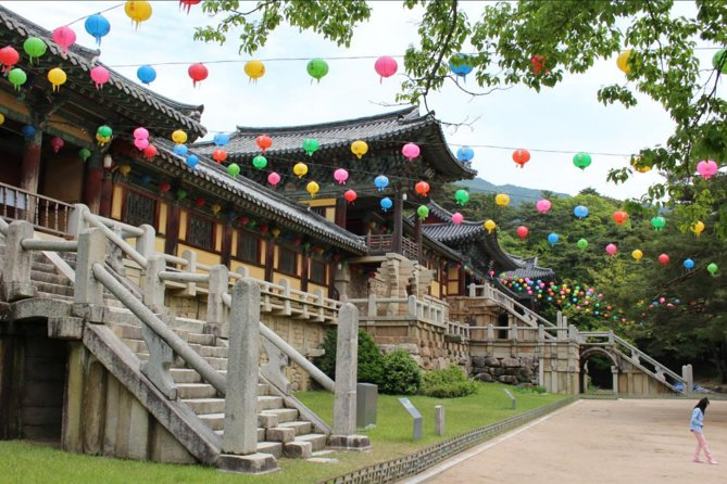 During this 8-hour small group tour, your dedicated guide and driver will take you around the beautiful city of Gyeongju. Visit UNESCO World Heritage sites,Bulguk Temple and Seokguram Grotto, as well as other important historic places. This tour also includes lunch, entrance fees, and transportation.<br><br>This tour requires a minimum of 2 to operate; if this requirement is not met the tour may be cancelled.