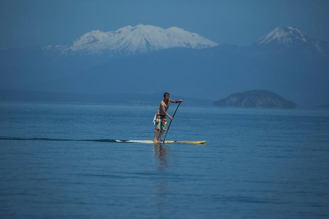 Want the ultimate freedom??<br><br> Get yourself out on the beautiful crystal clear waters of Lake Taupo in the most unique way possible - On a Stand Up Paddle Board. Taking the Lake by SUP means you can get to those secret spots that boats can't and experience with the best of Taupo's scenery and wildlife without the crowds.<br><br> You cannot get any closer to the Extraordinary Maori Rock Carvings then on a SUP!!