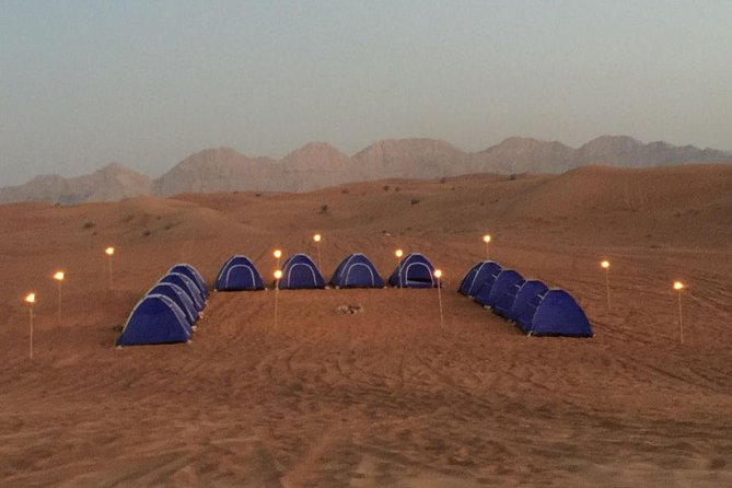 Enjoy a relaxing escape for the entire family and friends in our fully equipped, overnight campset up in the middle of the desert. Vistas of the desertscape and the surrounding peaks of Faya and Fossil Rock add to the spectacle.<br><br>The evening starts off with a beautiful sunset view, followed by a trekking experience of the mountain and a BBQ dinner under the stars. Breakfast served the following morning<br><br>Also includes observing deep sky objects through our telescope with an expert. Short off-road dune drive included in package.<br><br>Further enhance your experience with our thrilling buggy night adventure that can be booked on site or visit our website for further details (www.discovermleiha.ae).
